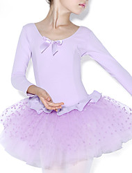 cheap -Ballet Dresses Children's Training Cotton Ruffles Splicing 1 Piece Long Sleeve Natural Leotard
