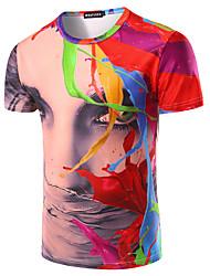Tee-shirt Hommes,Arc-en-ciel Sortie Décontracté / Quotidien Soirée Punk & Gothique Manches Courtes Col Arrondi Multi-couleur Coton