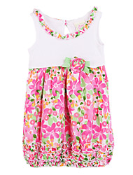 cheap -Baby Girl's Daily Floral Dress, Cotton Summer Sleeveless Fuchsia