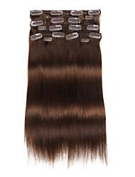 billiga -9st / set deluxe 120g # 4 medium brun chocalate brun klämma i hårförlängningar 16inch 20inch 100% rak mänskligt hår