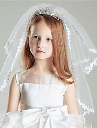 Duas Camadas Véus de Noiva Véus de Primeira Comunhão Com Pente Flôr Tule