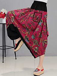 Women's Boho Sign linen trousers national wind pants harem pants big yards female spring and summer cotton trousers loose carrot pants