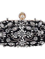 cheap -Women's Bags Polyester Evening Bag Crystal/ Rhinestone for Wedding Event/Party Formal All Seasons Black Almond
