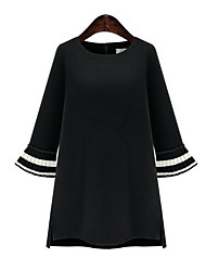 Women's Flare Sleeve Casual/Daily/Club Sexy Sheath Dress,Solid Round Neck Above Knee Long Sleeve Black PU Fall/Winter Mid Rise Micro-elastic Medium