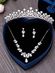 Gioielli 1 collana 1 paio di orecchini Gioielli per capelli Perle finte Zirconi Matrimonio Feste Quotidiano Perle finte Zirconi 4 pezzi