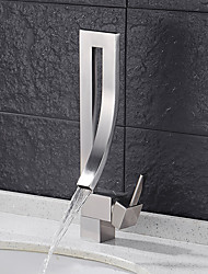 Contemporain Set de centre Cascade with  Soupape céramique Mitigeur un trou for  Nickel brossé , Robinet lavabo