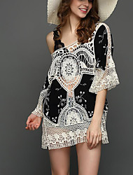 Women Beach Holiday Sexy Vintage Loose Hollow Out Blouse DressPrint Lace Round Neck Mini  Length Sleeve Summer Mid Rise Micro-elastic