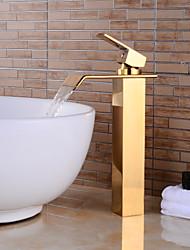 Недорогие -Современный По центру Водопад Керамический клапан Одной ручкой одно отверстие Ti-PVD, Ванная раковина кран