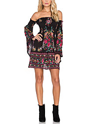 Women's Formal Party Holiday Sexy Boho Sophisticated Loose Sheath Dress,Floral Boat Neck Above Knee Long Sleeve Black Polyester