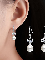 cheap -Imitation Pearl Drop Earrings Jewelry Wedding Party Daily Casual Pearl Alloy 1 pair Silver