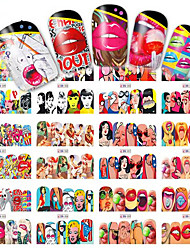 cheap -12designs/set Water Transfer Sticker / Nail Sticker Nail Stamping Template Nail Art Design Nail Decals / Sexy Lady