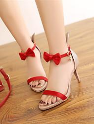 abordables -Mujer Zapatos PU Primavera / Verano / Otoño Sandalias Tacón Stiletto Punta abierta Pajarita Negro / Rojo / Verde / Fiesta y Noche / Fiesta y Noche