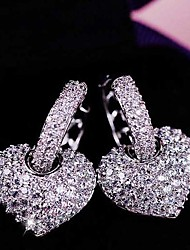 cheap -Women's Heart Shape Stud Earrings Jewelry Wedding Party Alloy Cubic Zirconia 1 pair
