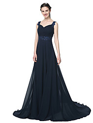 cheap -A-Line Straps Floor Length Chiffon Bridesmaid Dress with Beading Appliques Pleats by LAN TING BRIDE®