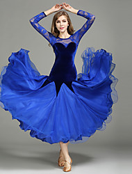 cheap -Ballroom Dance Dresses Women's Performance Lace Tulle Velvet Lace Splicing Long Sleeve Natural 1 x User's Manual Dress