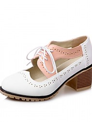 cheap -Women's Shoes Synthetic Leatherette PU Spring Summer Fall Winter Comfort Novelty Oxfords Walking Shoes Chunky Heel Block Heel Round Toe