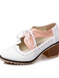 Недорогие -Жен. Обувь Синтетика Дерматин Полиуретан Весна Лето Удобная обувь Оригинальная обувь Туфли на шнуровке Для прогулок На толстом каблуке