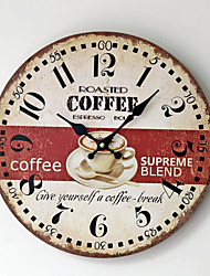 Traditional Country Antique Retro Coffee Holiday Family Wall ClockNovelty Wood Plastic 35*35 Indoor/Outdoor Indoor Clock