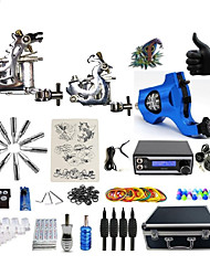 cheap -Professional Tattoo Kit 2 cast iron machine liner & shader 1 rotary machine liner & shader 3 Tattoo Machine Inks Not Included