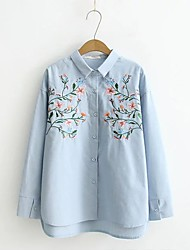 Women's Embroidery Going out Casual/Daily Sexy Simple Street chic Spring Fall Shirt,Solid Floral Shirt Collar Long Sleeve Silk Cotton Medium