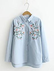 Camicia Da donna Per uscire Casual Sensuale Semplice Moda città Primavera Autunno,Tinta unita Fantasia floreale Colletto Seta Cotone