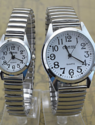 Men's Women's Couple's Wrist watch Quartz Stainless Steel Band Casual Silver