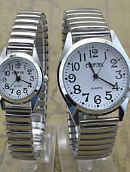 baratos -Homens / Mulheres / Casal Relógio de Pulso Relógio Casual Aço Inoxidável Banda Casual Prata / SSUO 377
