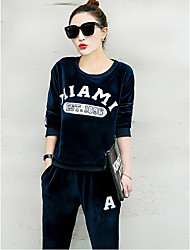 Women's Vacation Casual/Daily Traveling Vacation Fall Hoodie Pant Suits,Others Round Neck Long Sleeve Sporty