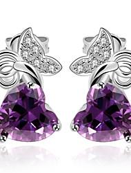 Boucles d'oreille goujon Améthyste Zircon cubique Cristal Zircon Cuivre Plaqué or Bijoux de Luxe Violet Bijoux Quotidien Décontracté1