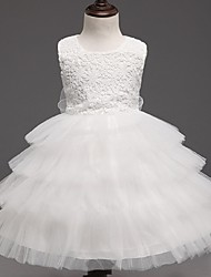 cheap -Ball Gown Knee Length Flower Girl Dress - Organza Sleeveless Jewel Neck with Ruffles by YDN