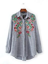 Camicia Da donna Per uscire Casual Semplice Moda città Primavera Autunno,Ricamato A V Cotone Manica lunga Medio spessore