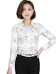 Women's Shirt Collar Plus Size Floral Print Work OL Long Sleeve Wild Skin Chiffon Shirt