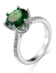 Ring Synthetischer Smaragd Europäisch Zirkon Kubikzirkonia Stahl Schmuck Für Alltag