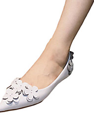 Women's Flats Comfort PU Spring Summer Casual Dress Low Heel Black Light Grey Blushing Pink Under 1in