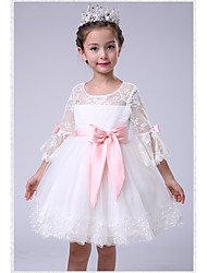Ball Gown Knee Length Flower Girl Dress - Lace Jewel Neck by likestar