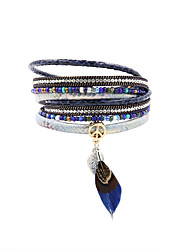cheap -Leather Rhinestone Gold Plated Leather Bracelet - Bohemian Handmade Fashion Irregular Blue Bracelet For Christmas Gifts Wedding Party
