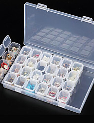 cheap -Clear Plastic 28 Slots Empty Storage Box Nail Art Rhinestone Tools Jewelry Beads Display Storage Box Case Organizer Holder