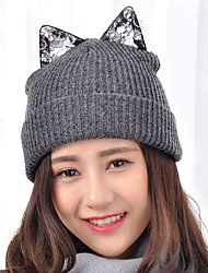 cheap -Women Lace Rhinestone Cute Cat Ears Round Mark Wool Knitting Ski Newsboy Cap