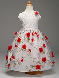 cheap -Ball Gown Knee Length Flower Girl Dress - Organza Sleeveless Jewel Neck with Flower by YDN