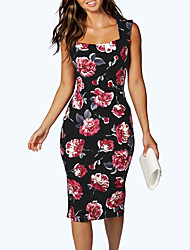 Women's Cut Out Going out Holiday Sexy Vintage Bodycon DressFloral Backless Slim Over Hip Square Neck Knee-length Sleeveless Summer Mid Rise