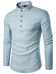 Men's Work Party/Cocktail Club Simple Spring Fall Shirt,Solid Stand Long Sleeve Linen Medium