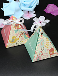 cheap -Pyramid Card Paper Favor Holder with Ribbons Favor Boxes - 50