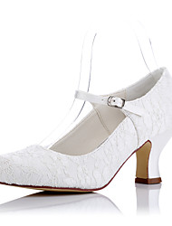 cheap -Women's Shoes Tulle Spring Summer Comfort Heels Chunky Heel Round Toe for Wedding Party & Evening Dress Ivory