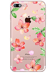 Red  Flower Pattern Case Back Cover Case Flower Soft TPU for Apple iPhone 7 Plus iPhone 7 iPhone 6s Plus 6 Plus iPhone 6s 6 iPhone iphone 5s 5 iphone4