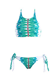 cheap -Womens High Neck Feather Print Swimsuit Bikini