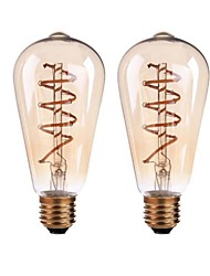 B22 E26/E27 LED Filament Bulbs ST64 4 COB 400 lm Warm White 2700-3500 K Dimmable AC 220-240 AC 110-130 V 2pcs