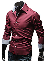cheap -Men's Daily Formal Work Casual All Seasons Shirt,Solid Shirt Collar Long Sleeves Cotton Polyester