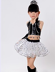 Latin Dance Kid's Orlon Sequin Sleeveless Dropped Skirts Tops Bracelets