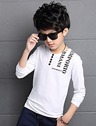 Boys' Daily Print Tee,Cotton Rayon Spring Summer Long Sleeve White Black Wine