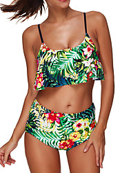 Women's High Waist  Plus Size Push Up Vintage Retro High Waist Floral Bikini(S-3XL)